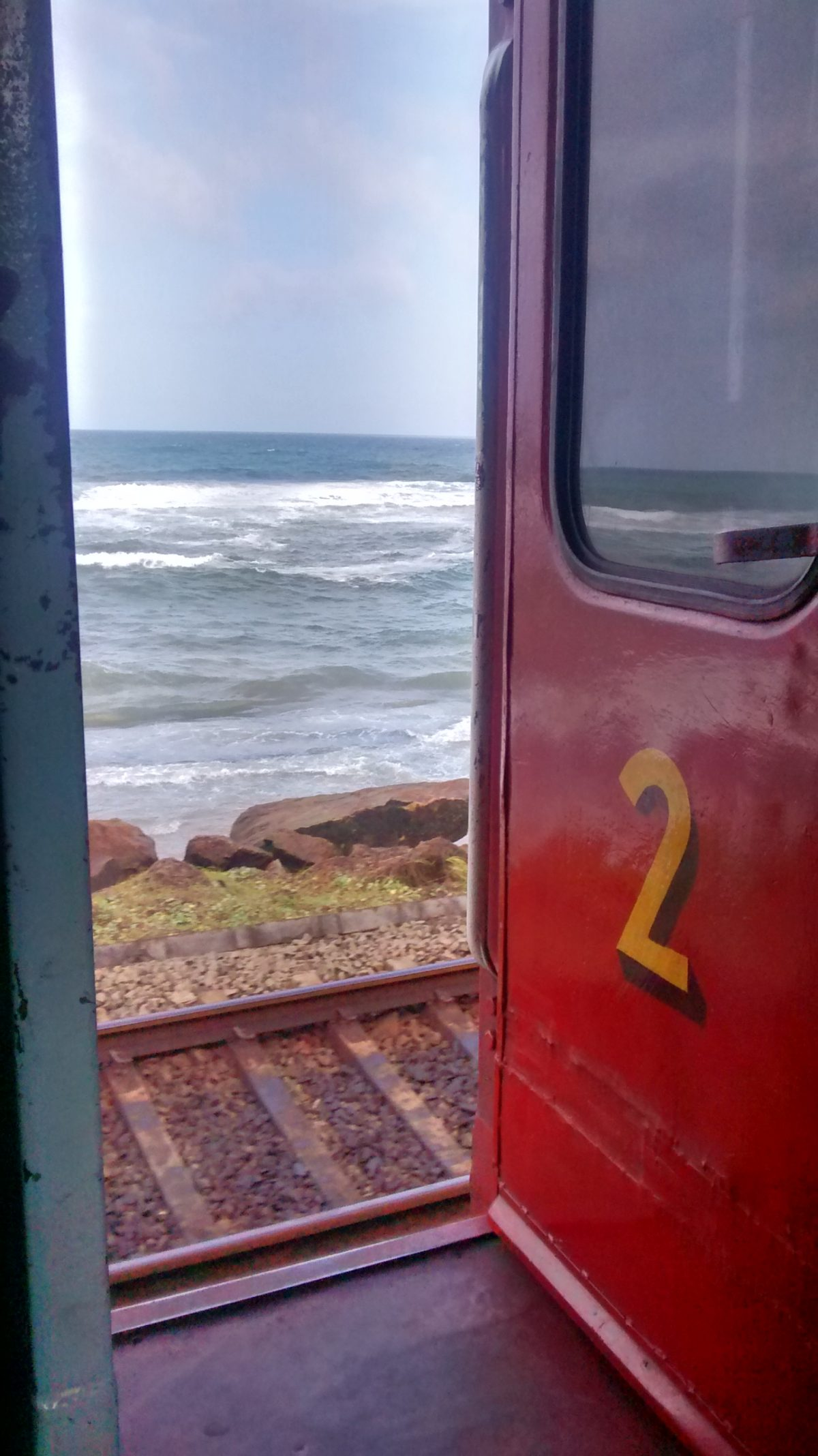 View from the open doors, Colombo-Galle train
