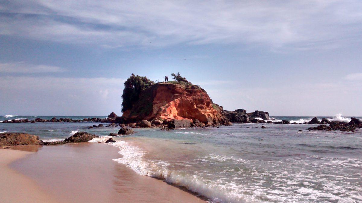 Rock islet at Mirissa Beach, Sri Lanka