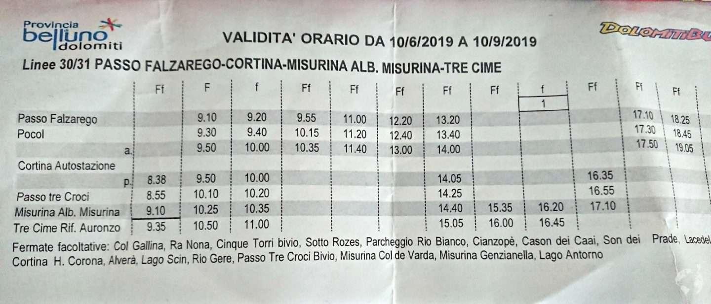 orari Bus Cortina passo tre croci lago sorapis