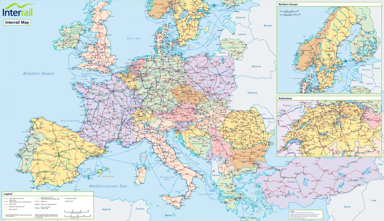 mappa interrail quali paesi si possono visitare