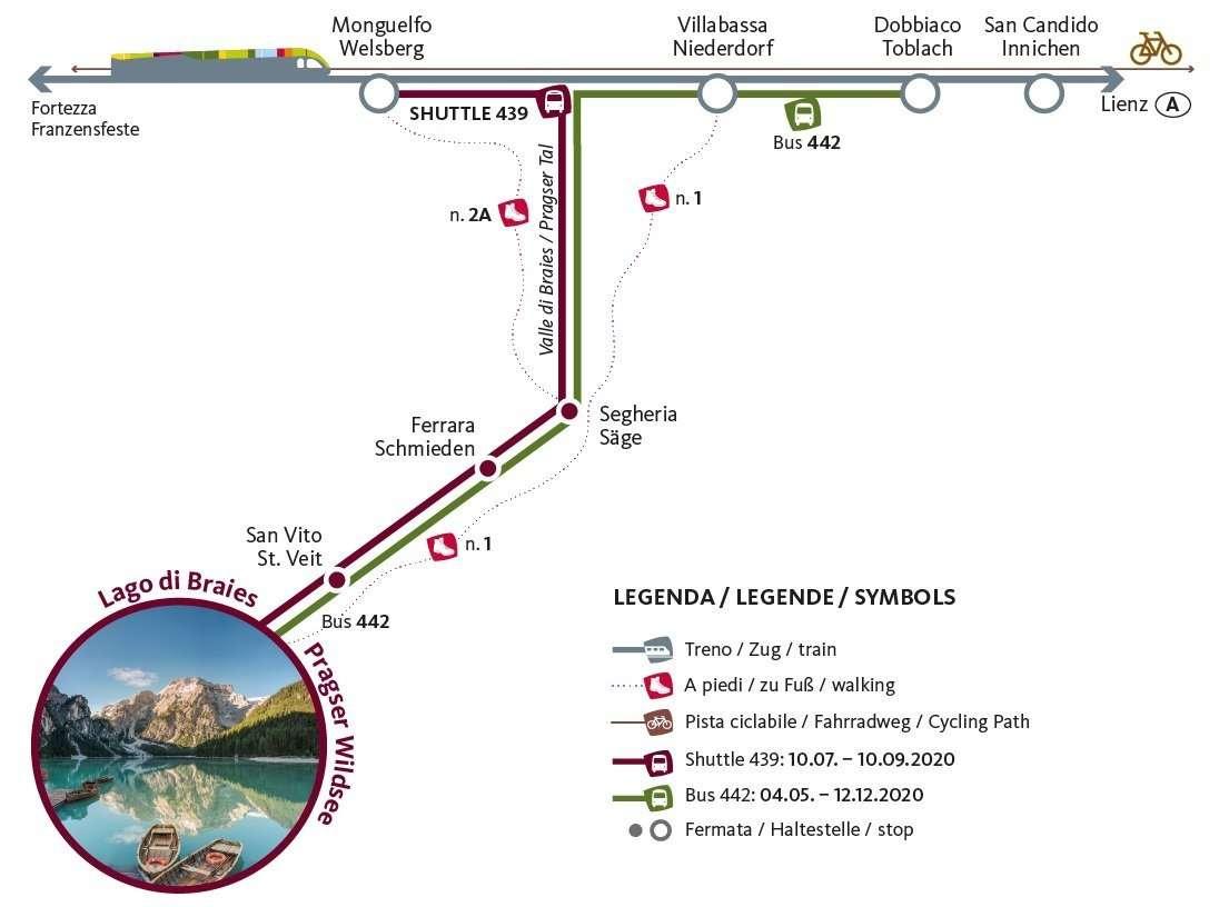 come raggiungere il lago di braies in treno e bus